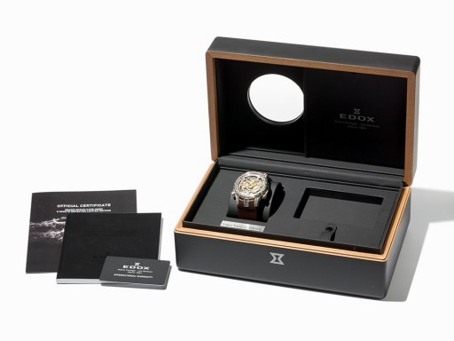 The original box and papers accompany this Edox watch