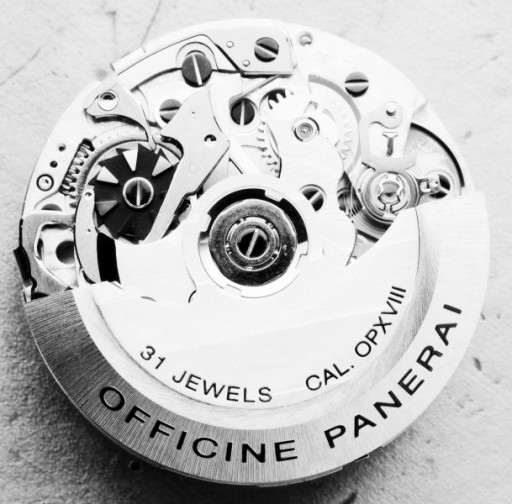 La Joux-Perret built this rattrapante column wheel movement for Panerai, their calibre OP XVIII